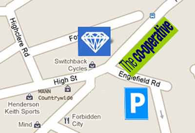 Location of Diamond Dry Cleaning Centre in Knap Hill, Woking Surrey